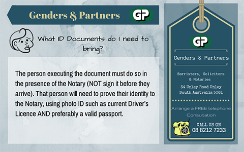Genders and Partners | What ID Documents do I need to bring - Lawyer Adelaide