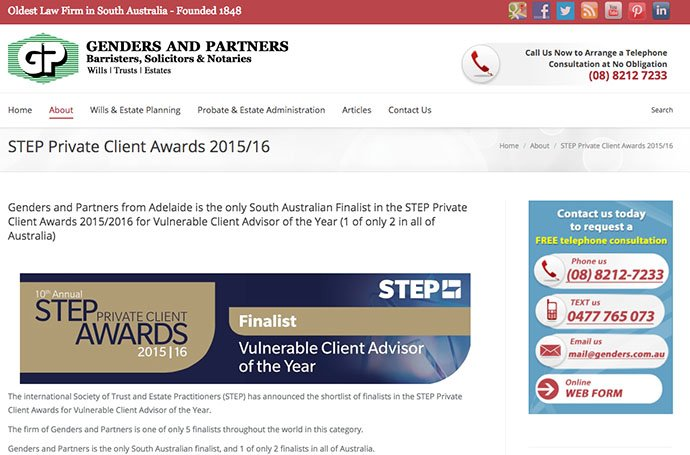 2015 Rod Genders Finalist for STEP International Vulnerable Client of the Year Award