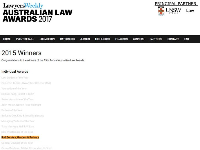 2015 Rod Genders won award for Sole Practitioner of the Year for the whole of Australia
