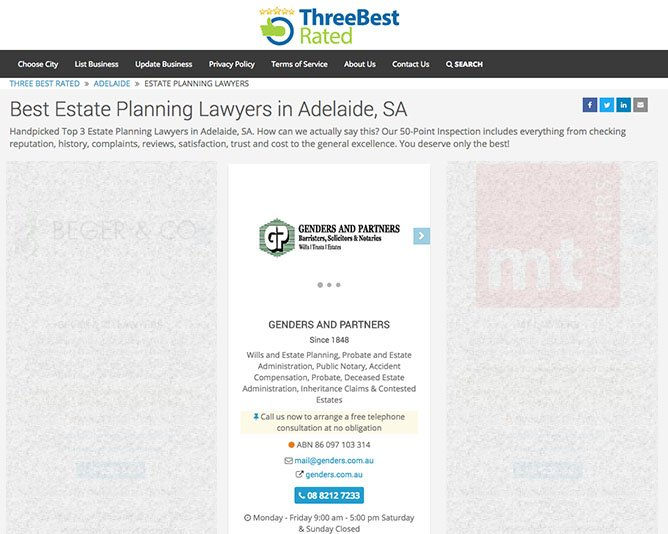 2017 Best Estate Planning Lawyers in Adelaide SA Genders and Partners