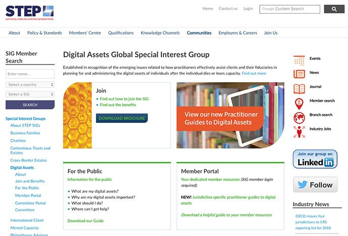 2017 Rod Genders selected as Chair of international STEP Digital Assets Special Interest Group
