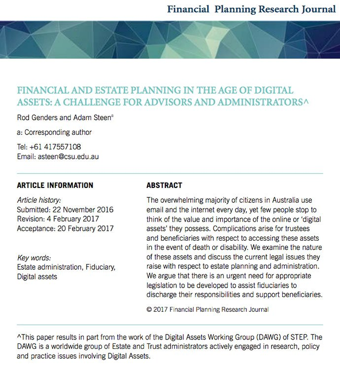 2017 Rod Genders submitted Financial and Estate Planning in the Age of Digital Assets