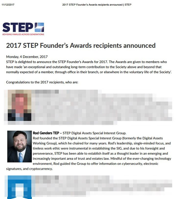 STEP Founders Award for his work as international thought leader raising awareness of Digital Assets in estate planning